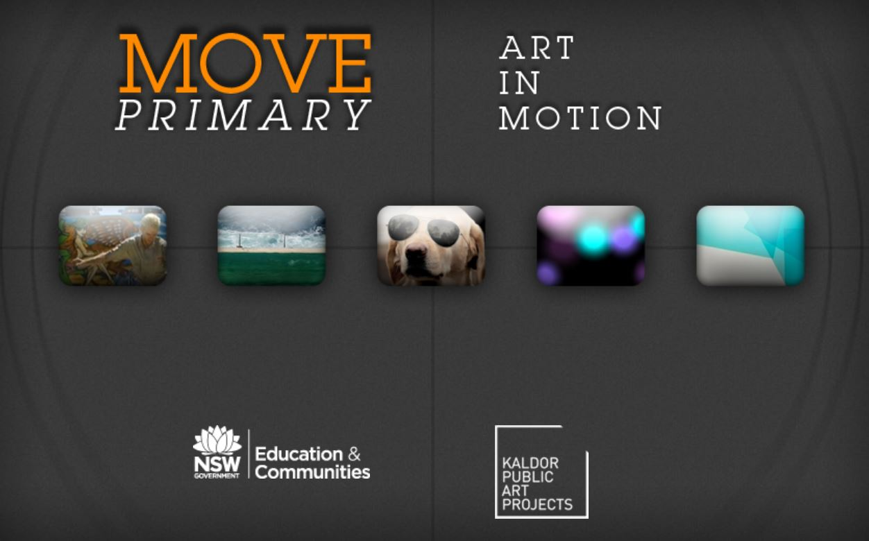 Screemshot of the main page opf the resource showing the title Move Primary: Art in Motion