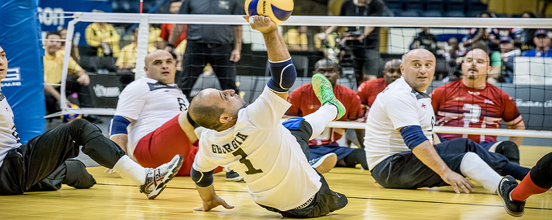 Teams playing sitting volleyball at the Invictus Games.