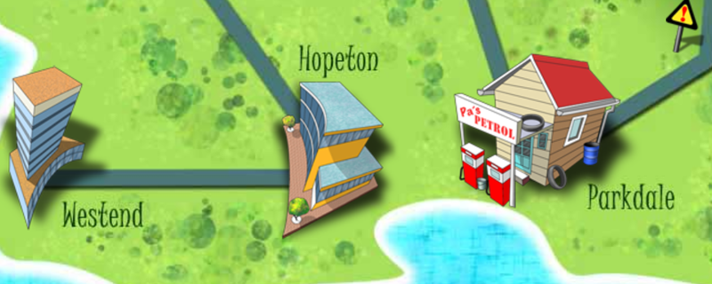 Screenshot of a cartoon style map from the RU a cyber Detective resource.